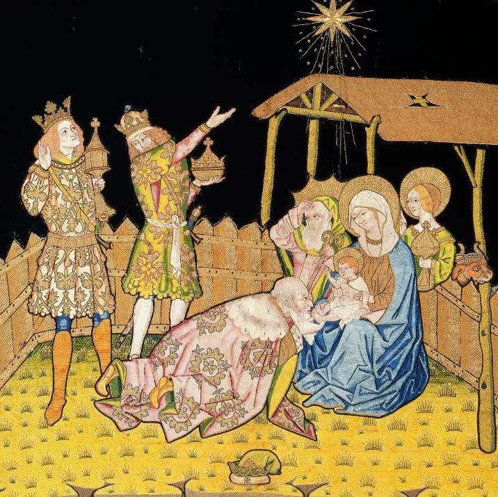 Els Reis simbolitzant les tres edats de la vida del frontal brodat de Sant Joan de les Abadesses, segona meitat del s. XV. MEV 1949