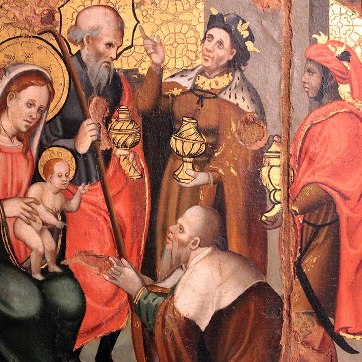 Pere Gascó. L'Epifania amb el rei negre del retaule de Sant Cristòfol de Tavertet , 1538, (MEV 7295)