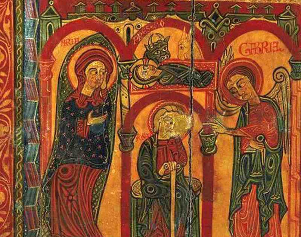 La Nativitat al frontal d'altar de la Mare de Déu del Coll. Últim quart del segle XII. MEV 3.