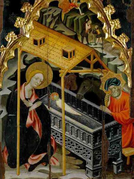 La Nativitat en una cimera del retaule de Guimerà. Ramon de Mur, 1402-1414. MEV 883.
