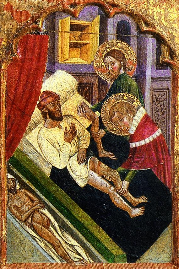 El miracle de l'empelt de la cama negra. Mestre de Rubio, s. XIV. Predel.la del retaule de Santpedor. MEV