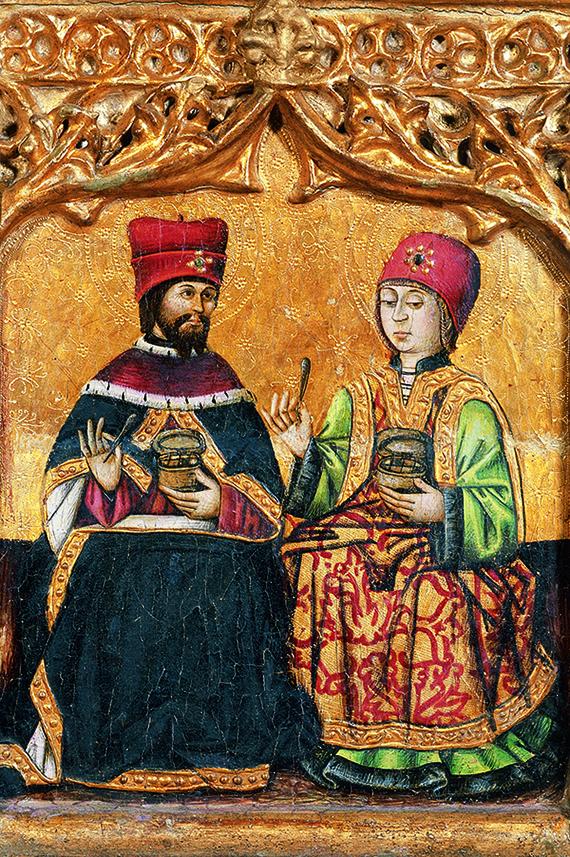 Cosme i Damià amb caixes de medicaments i pinces. Joan de Rua, 1483-1484. Predel.la del retaule de Sant Miquel de Verdú. MEV