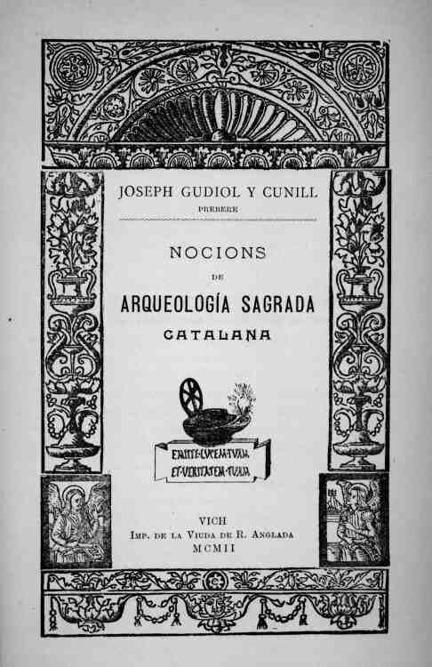 Portada del llibre de Mn. Gudiol, Nocions d'Arqueologia Sagrada Catalana