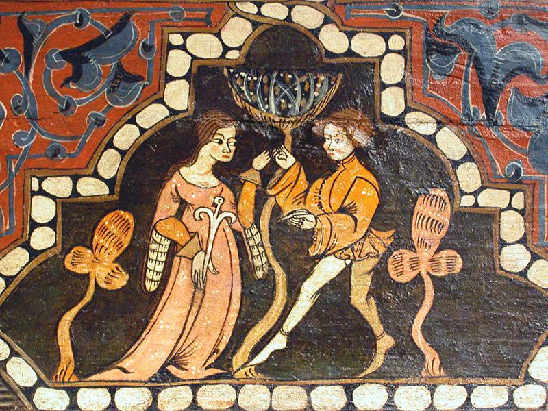 Escena cortesana. Fragments de teginat procedents del castell-palau de Curiel de los Ajos. Valladolid, 1386-1410