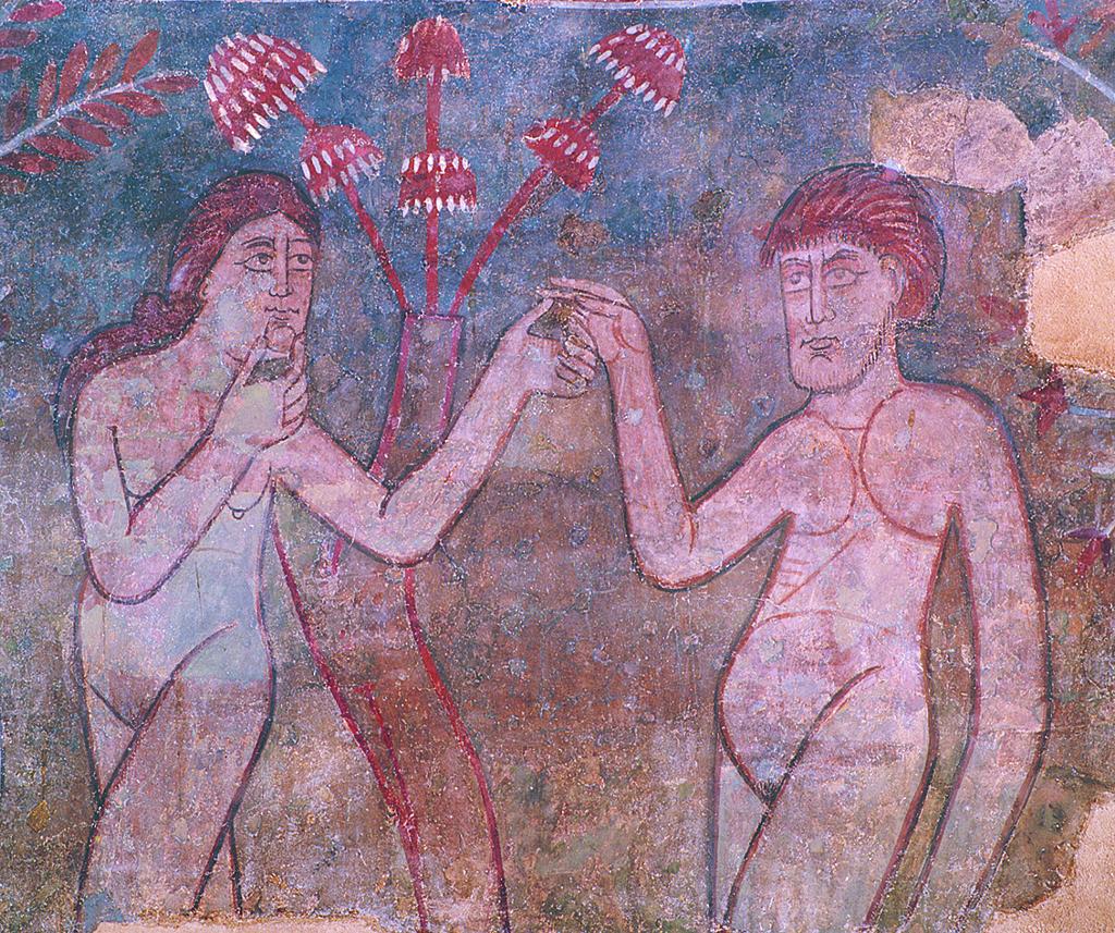 Eva temptant Adam. Pintures murals de l'absis de Sant Sadurní d'Osormort. Tallers de Vic, segon quart del segle XII