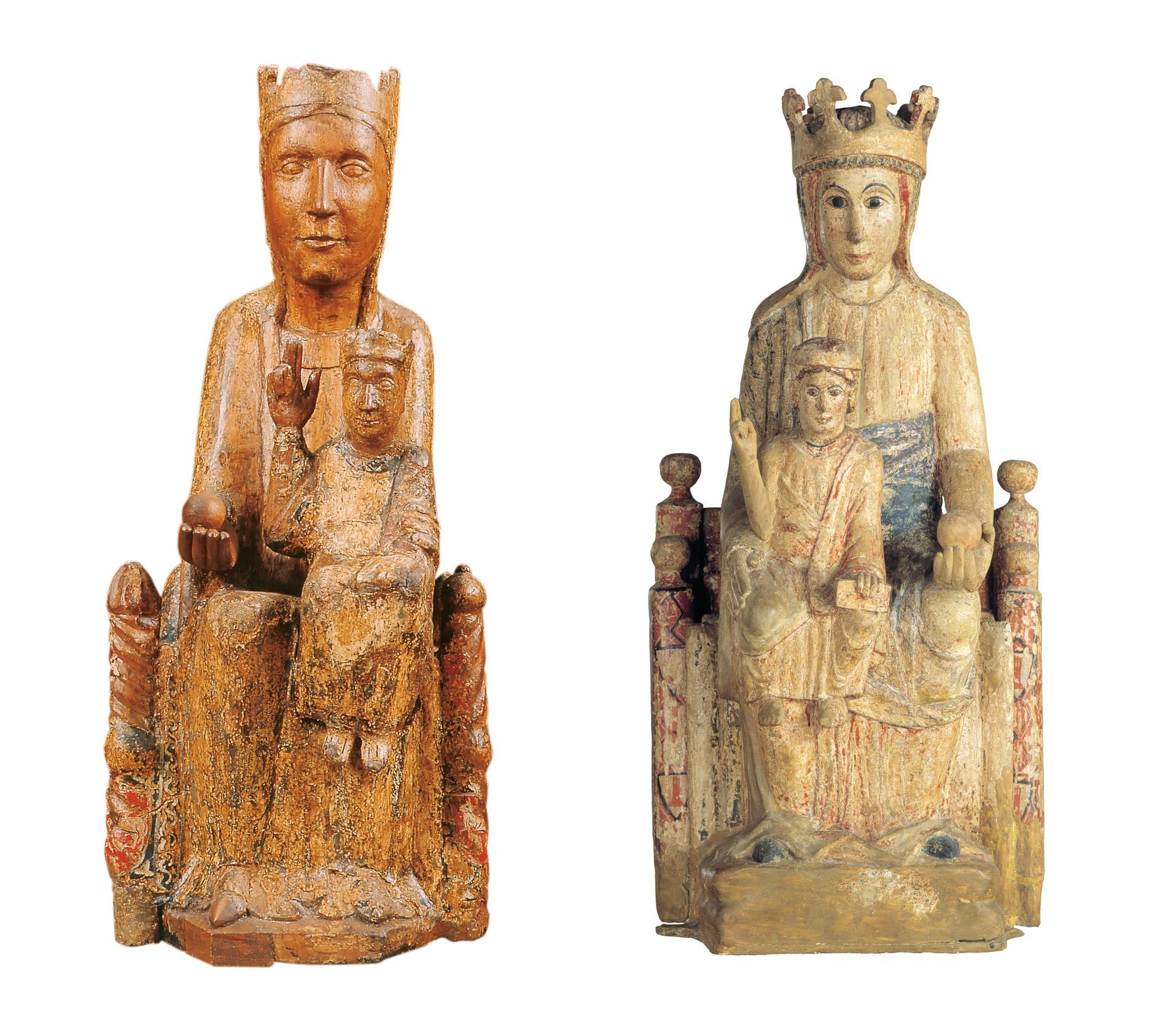 A l'esquerra, la Marededéu de Santa Maria de Matamala. Tallers de Vic, últim quart del s.XII. A la dreta, la Marededéu de Santa Maria de Veciana. Catalunya, entre el segon i el tercer quart del s.XIII.