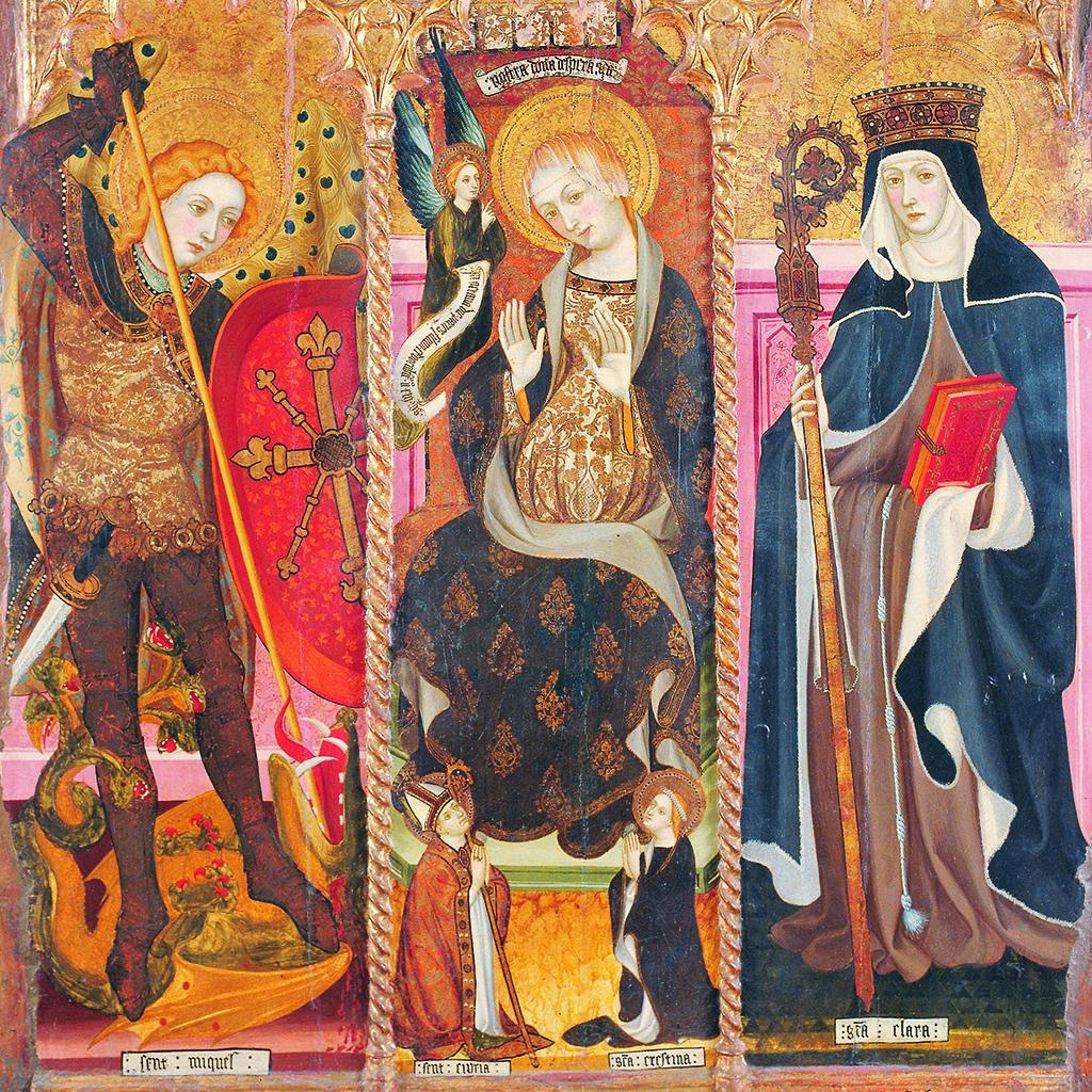 Lluís Borrassà. Sant Miquel Arcàngel, Mare de Déu de l'Esperança i sant Clara. Retaule provinent del convent de Santa Clara de Vic, entre 1414 i 1415