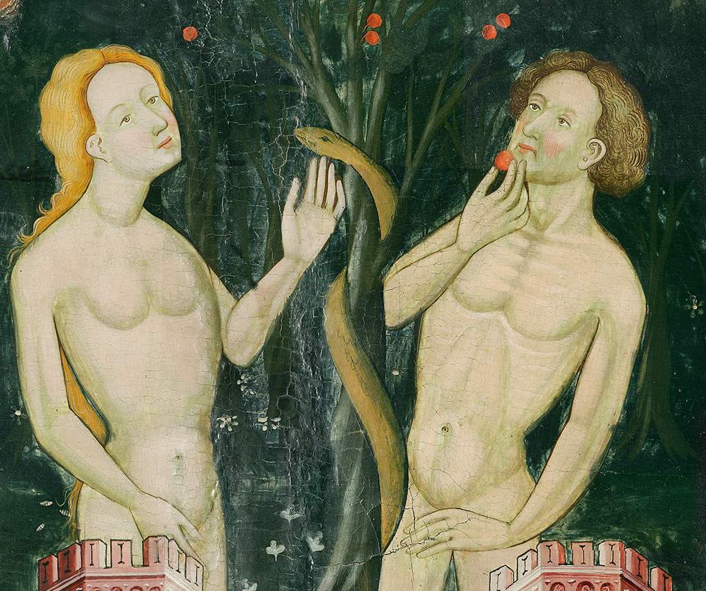 Ramon de Mur. Eva i Adam menjant el fruit del pecat. Retaule provinent de Santa Maria de Guimerà, 1402-1412