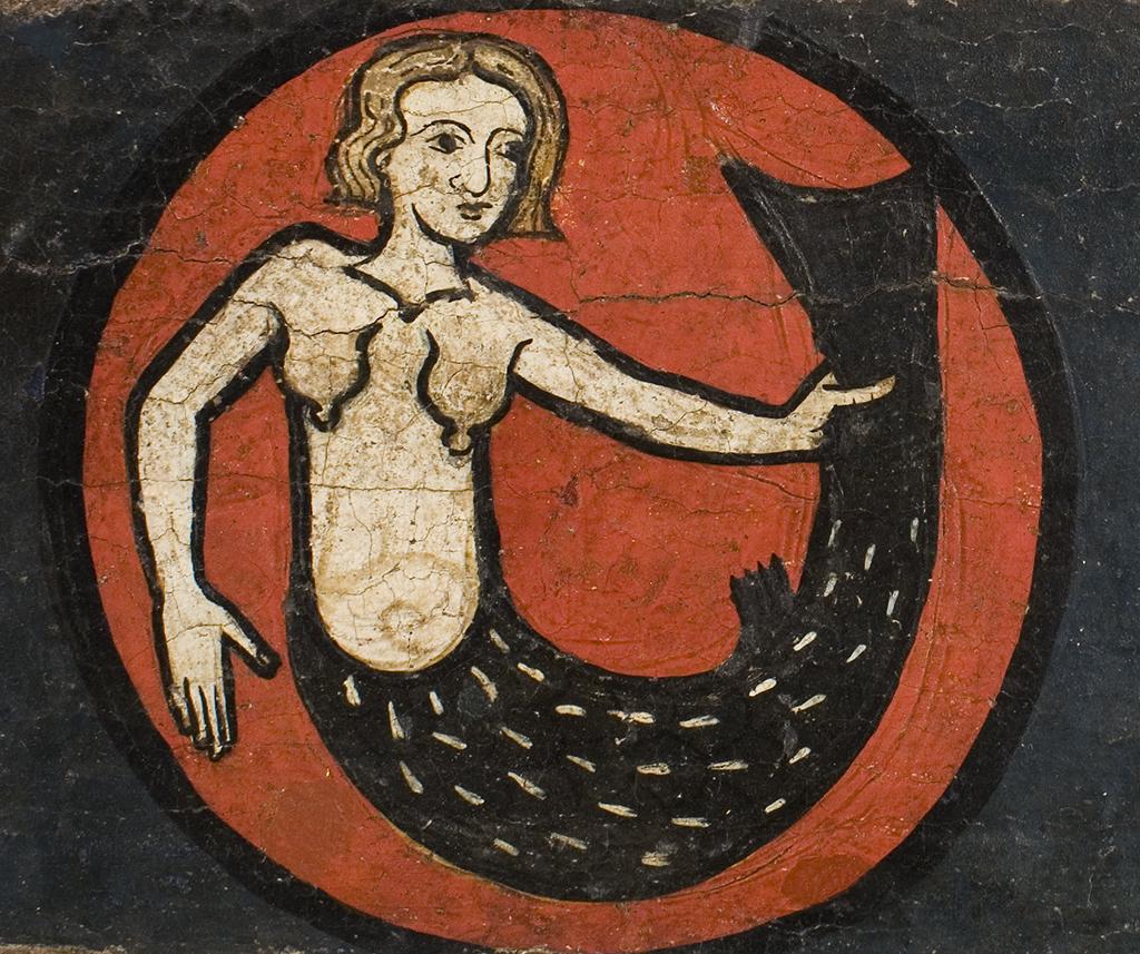 Sirena de la biga del baldaquí de Sant Marti de Tost. Tallers de la seu d'Urgell, mitjan segle XIII