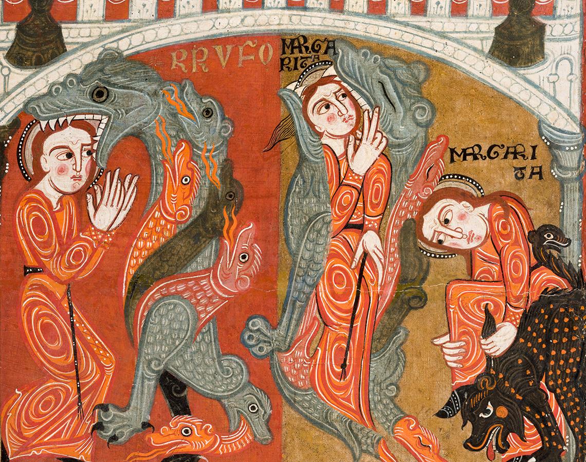 Santa Margarida sortint de la panxa de Rufus. Frontal d'altar de Santa Margarida de Vila-seca, últim quart del s.XII.
