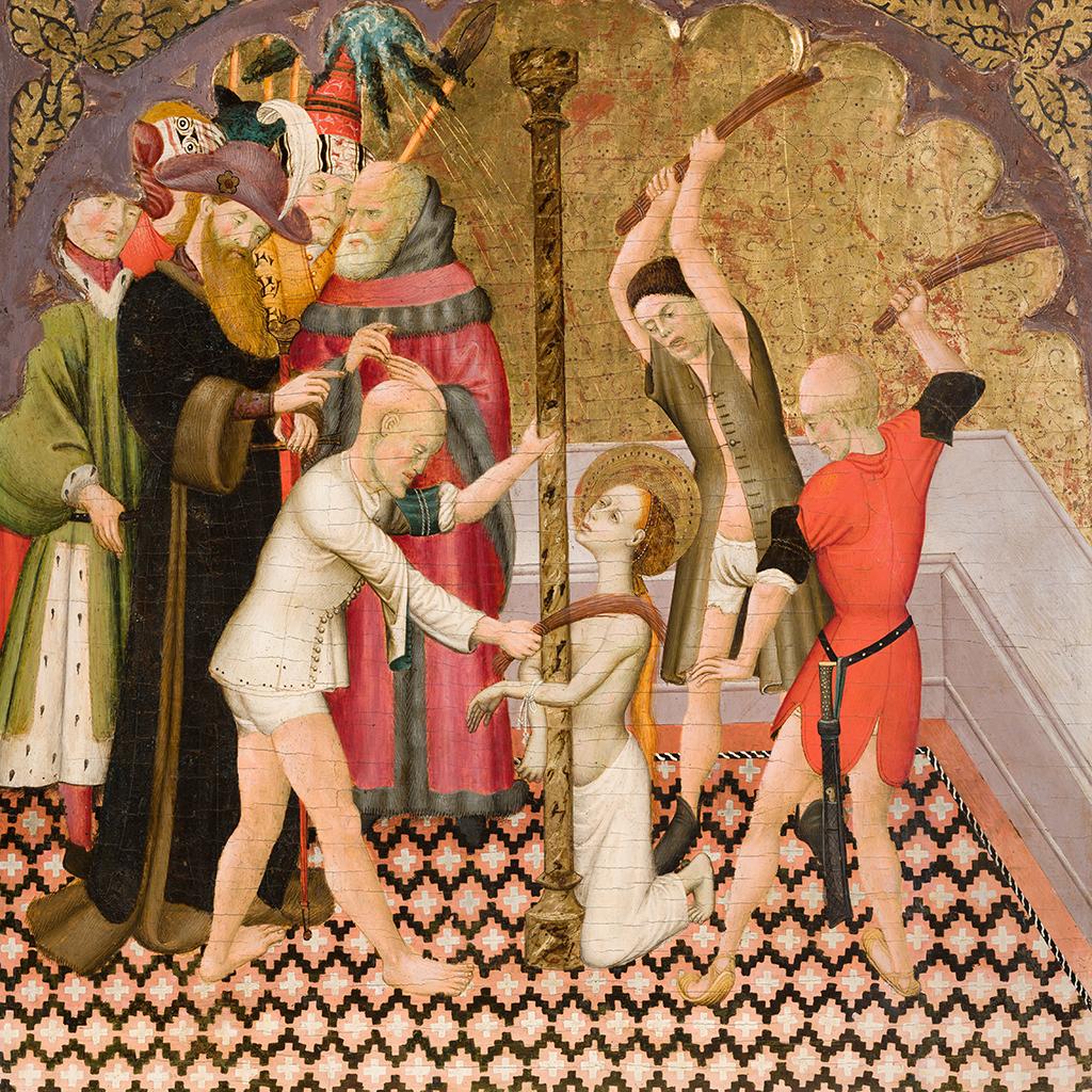 Bernat Martorell. Flagel·lació de santa Eulàlia. Compartiments d'un retaule probablement provinent de la Catedral de Vic, 1427-1437