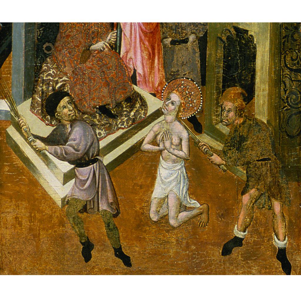 Bernat Despuig i Jaume Cirera. Flagel·lació de santa Eulàlia. Retaule de Santa Eulàlia de Pardines. Escola barcelonina, 1426 i 1442
