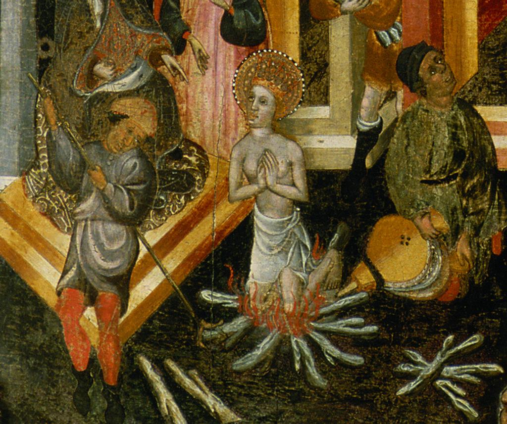 Bernat Despuig i Jaume Cirera. Santa Eulàlia a la foguera. Retaule de Santa Eulàlia de Pardines. Escola barcelonina, 1426 i 1442