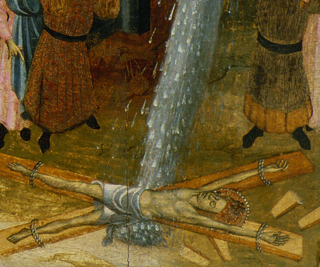 Bernat Despuig i Jaume Cirera. Santa Eulàlia i el miracle de la neu. Retaule de Santa Eulàlia de Pardines. Escola barcelonina, 1426 i 1442