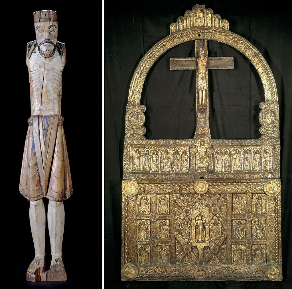 """El crucifix de Grinaker, Noruega, primera meitat o mitjan segle XII (Oslo, Museu de la Universitat) i l'anomenat """"altar daurat"""" de Lisbjerg, Dinamarca, vers 1150 (Copenhaguen, Museu Nacional)"""