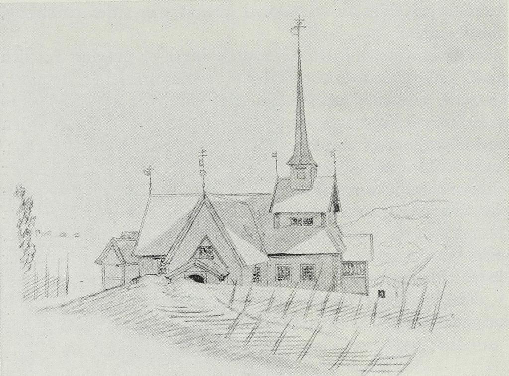 "Dibuix de 1807 de la ""stavkirke"" de Grinaker, enderrocada el 1867"