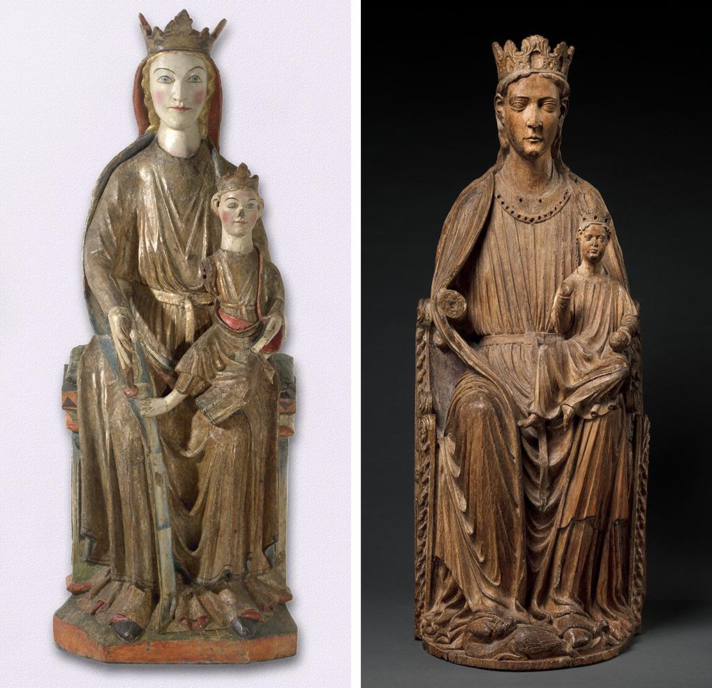 La marededeu de Kyrkjebø (Museu de la Universitat de Bergen) comparada amb una marededeu possiblement de l'abadia d'Oignies (Hainaut, Bèlgica), Mosa o Nord de França, ca. 1210-1220 (New York, Metropolitan Museum of Art)