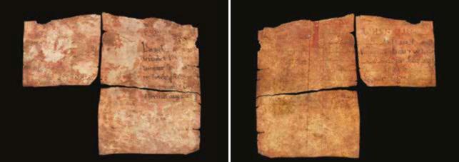 Fragments de pergamí extrets de l'interior de la marededéu de Kyrkjebø (anvers i revers)