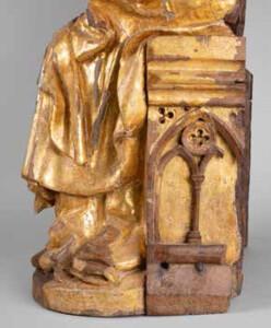 Detall del tron de la Verge del Museum Catharijneconvent, decorat amb traceries gòtiques