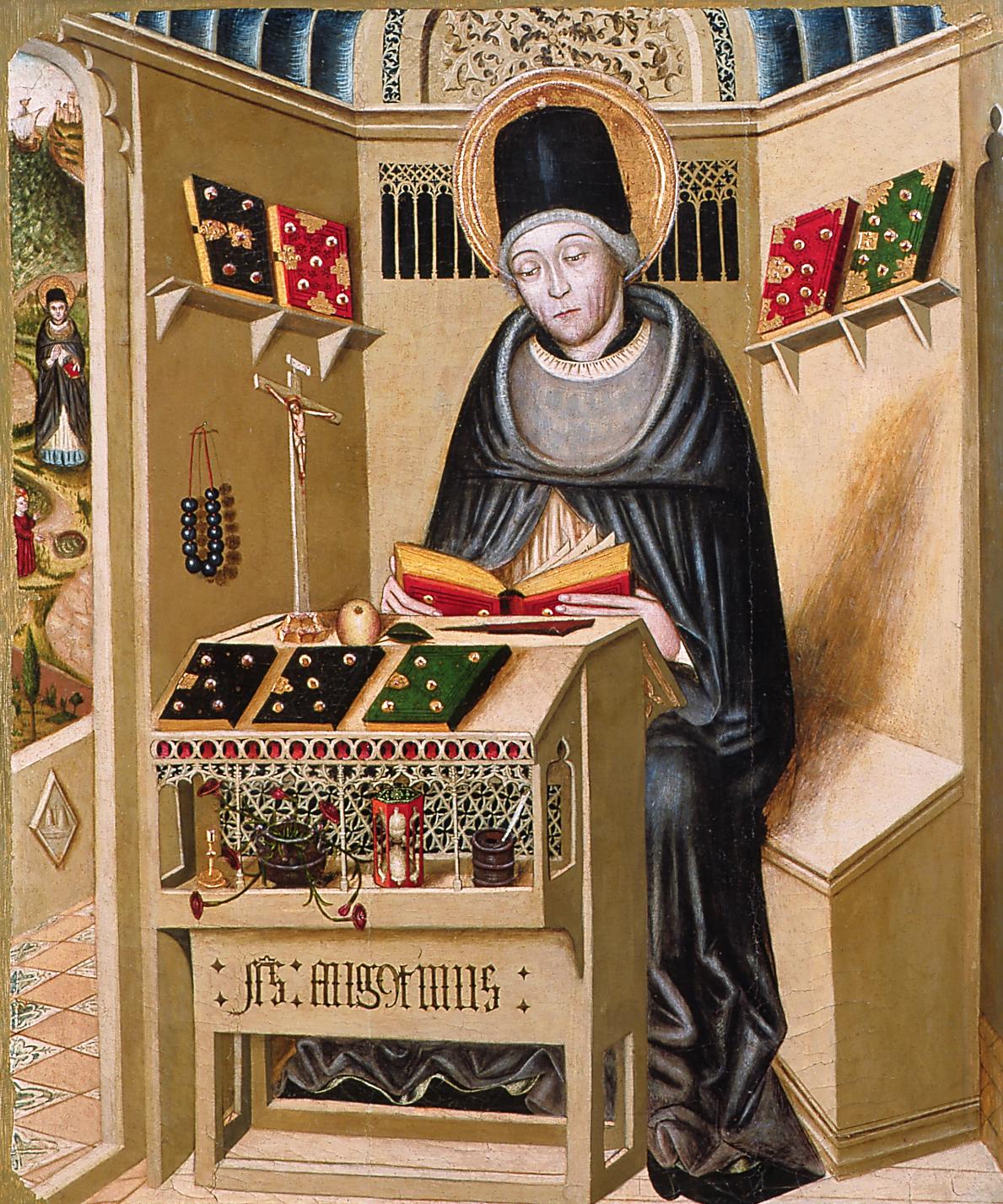 Compartiment de retaule amb sant Agustí provinent de Pujalt (Anoia). Escola tarragonina, 2a 1/2 s.XV