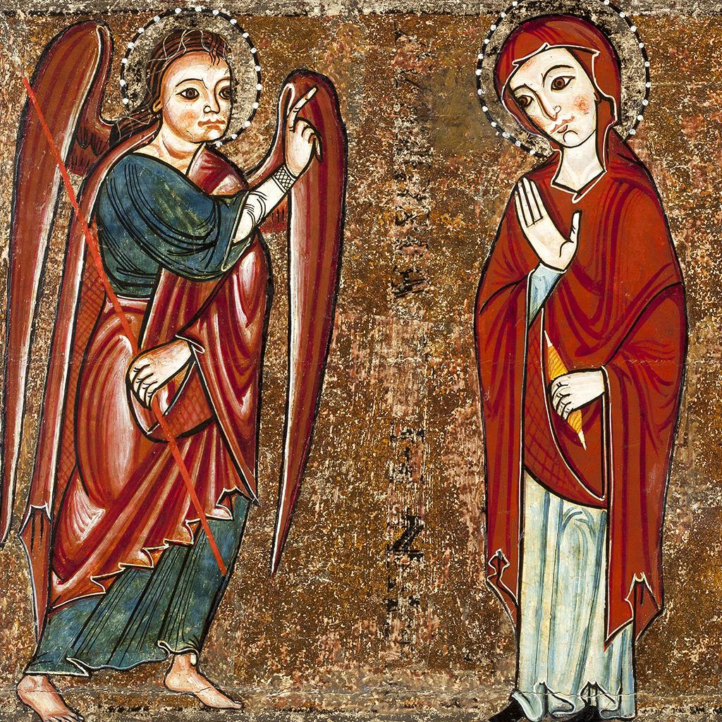 Mestre de Lluçà. Anunciació. Altar de Santa Maria de Lluçà. Tallers de Vic, 2n ¼ s.XIII