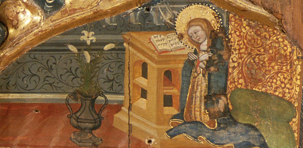 Mestre de Fonollosa. Detall Anunciació. Retaule de santa Margarida provinent de Santa Creu de Fonollosa (Bages), 1a ½ s.XV