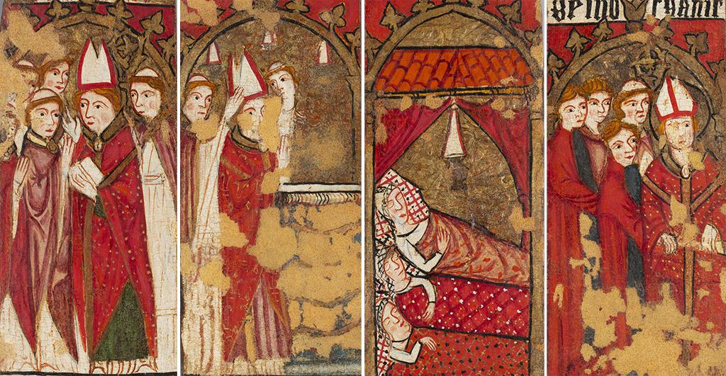 Episodis de la vida de sant Nicolau pintats a les portelles del moble: ordenació presbiteral i episcopal de sant Nicolau, miracle dels tres joves i miracle dels tres condemnats.