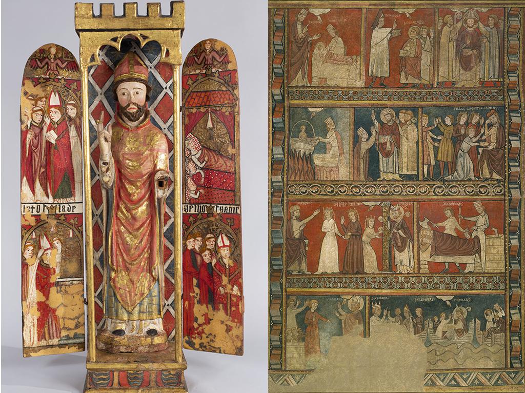Les escenes de sant Nicolau pintades al retaule-tabernacle, comparades amb la vida del sant de les pintures murals de Sant Frutcuós de Bierge (Osca), finals del segle XIII. Museu Nacional d'Art de Catalunya.