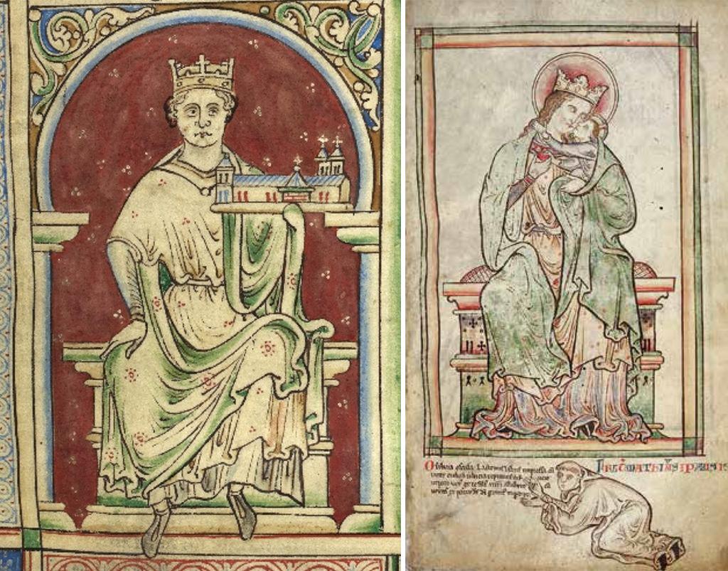 El rei Joan d'Anglaterra i la Mare de Déu amb el Nen, dins la Historia Anglorum (British Library), il·luminada a St Albans per Matthew Paris entre 1235 i 1259. Aquestes imatges mostren trets en comú amb el sant Pere de Fåberg.