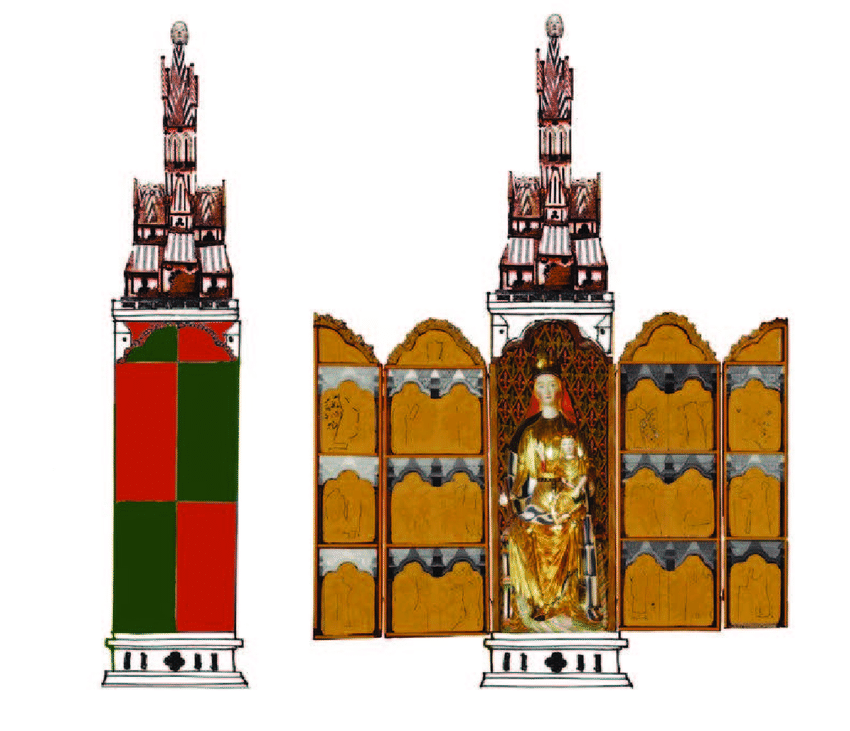 Reconstrucció del retaule-tabernacle de Hedalen, amb la posició que hi ocuparia una maqueta d'església com la de Reinli (il·lustració d'Elisabeth Andersen).