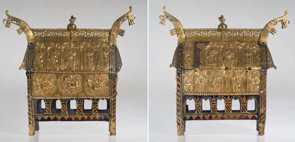 Reliquiari de Filefjell Bergen (?), ca. 1230-1250. Fusta de roure, coure repussat i daurat, esmalt. Bergen, Universitetsmuseet i Bergen, MA 52 Bergen, Universitetsmuseet i Bergen
