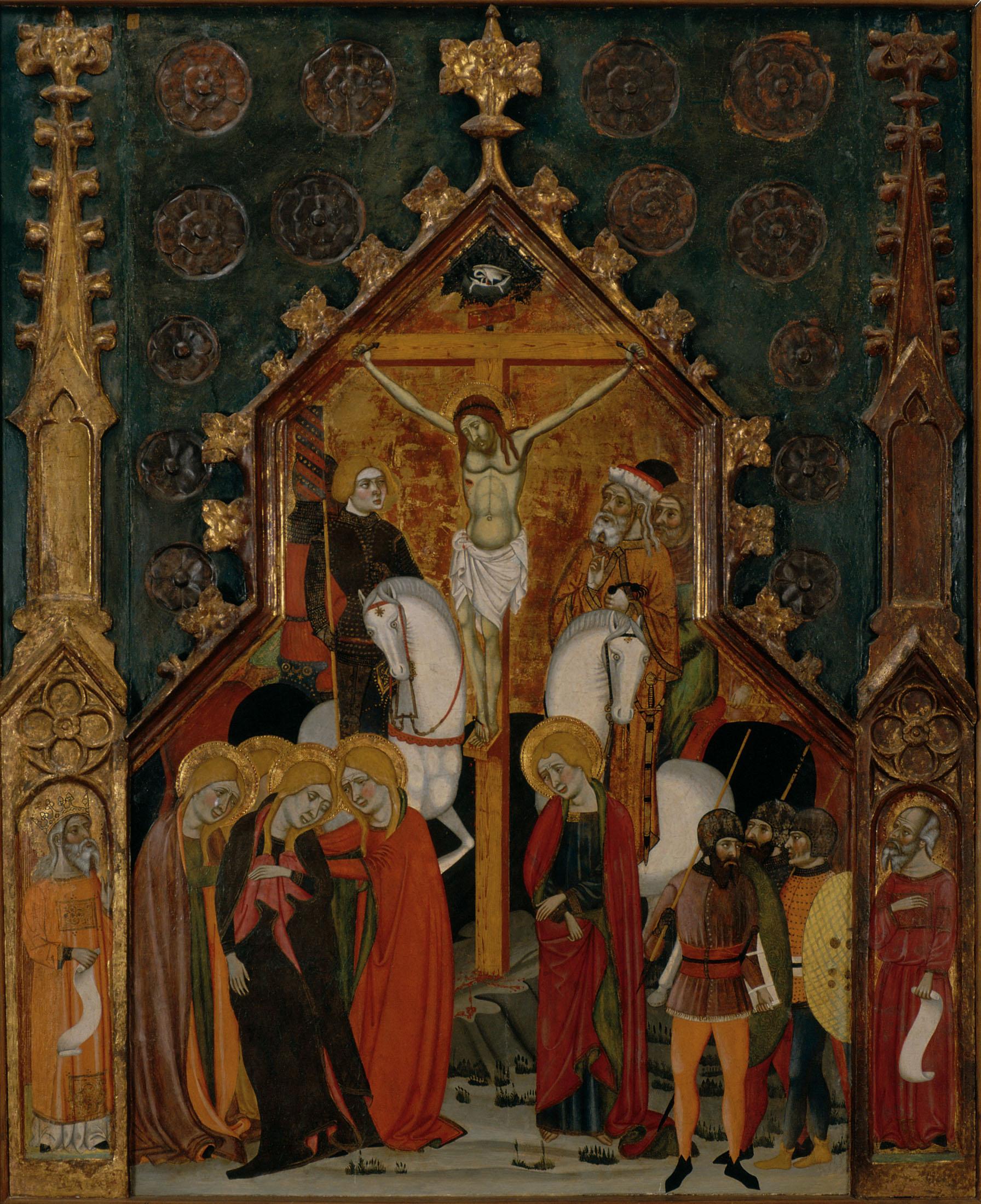 Pin culo central de un retablo con el calvario - Pintur sant fruitos ...